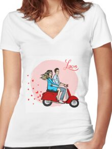 Lovers on a scooter Women's Fitted V-Neck T-Shirt