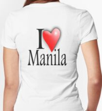 I LOVE, MANILA, Filipino, Maynilà, Philippines Women's Fitted V-Neck T-Shirt