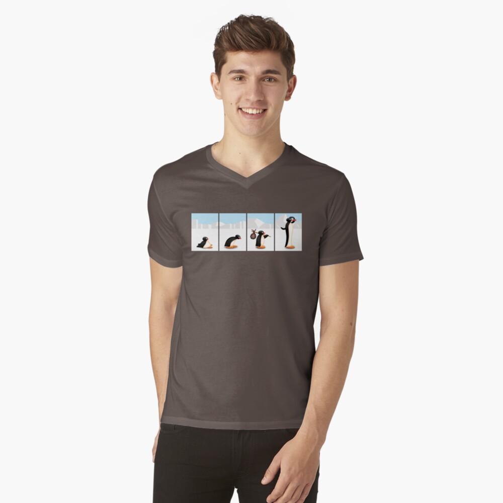 Die Pinguin-Evolution T-Shirt mit V-Ausschnitt
