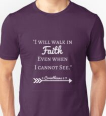 Faith Bible Verse- 2 Corinthians 5:7 (Summer Forest) Unisex T-Shirt