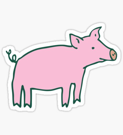 Simple Pig - pink and white - cute animal pattern by Cecca Designs Sticker