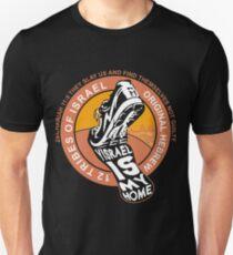 Yisrael ist mein Zuhause | Fußabdruck | Hebräischer Israelit Slim Fit T-Shirt