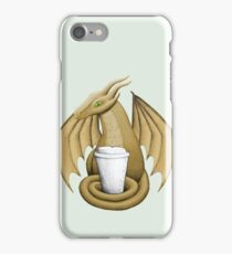Latte Dragon (green eye) iPhone Case/Skin