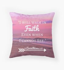 Faith Bible Verse- 2 Corinthians 5:7 (Beach Sunset) Throw Pillow