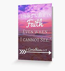 Faith Bible Verse- 2 Corinthians 5:7 (Beach Sunset) Greeting Card