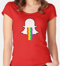 Snapchat ghost barfing rainbows Women's Fitted Scoop T-Shirt