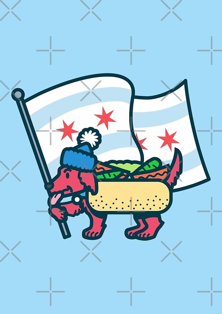 Chicago Dog with Flag by dangerhuskie