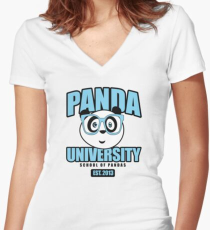 Panda University - Blue Women's Fitted V-Neck T-Shirt