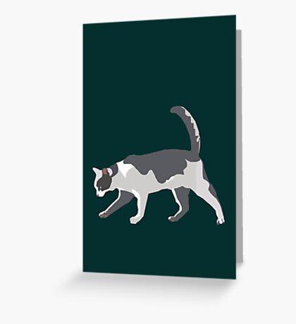 Slinky Grey Cat Greeting Card