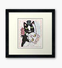 Wedding Dance Bridal Cat Couple Design Framed Print