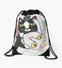 Wedding Dance Bridal Cat Couple Design Drawstring Bag