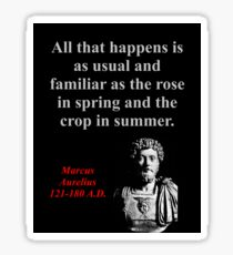 All That Happens Is As Usual - Marcus Aurelius Sticker
