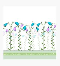 "Horizontal seamless pattern ""Summer Flower"" with Love inscription Photographic Print"
