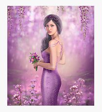 Spring Illustration beautiful Fantasy woman with purple flowers in sakura background Photographic Print