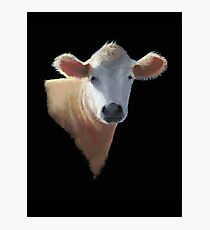 Sweet Brown Cow on Black: Oil Pastel Art Photographic Print