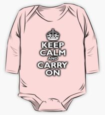 KEEP CALM, Keep Calm & Carry On, Be British! Blighty, UK, United Kingdom, white on black One Piece - Long Sleeve