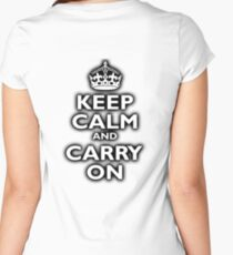 KEEP CALM, Keep Calm & Carry On, Be British! Blighty, UK, United Kingdom, white on black Women's Fitted Scoop T-Shirt
