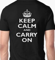 KEEP CALM, Keep Calm & Carry On, Be British! Blighty, UK, United Kingdom, white on black T-Shirt