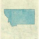 Montana State Map Blue Vintage by HubertRoguski