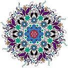Colorful Floral Mandela Geometric Circle by artonwear