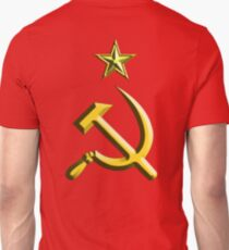 RUSSIA, USSR, Communist, Soviet Union, Hammer & Sickle, GOLD on RED T-Shirt