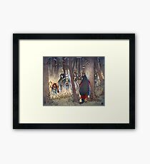 Procession - Kitsune Fox Rabbit Yokai Framed Print
