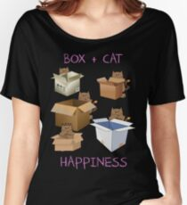 Happiness Cat with Box cute women t-shirt funny cats tee Women's Relaxed Fit T-Shirt
