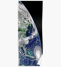 View of Hurricane Frances on a partial view of Earth. Poster