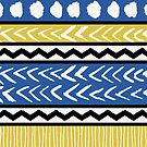 Blue, Yellow and Black Ethnic Pattern by Iveta Angelova