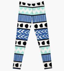 Blue, Mint and Black Ethnic Pattern Leggings