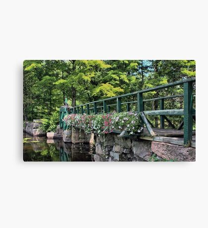 Petunias - Footbridge Crossing Stevens Brook Canvas Print