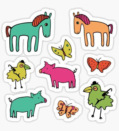 Striped Pigs and Ponies - Peach Melba - cute, fun pattern by Cecca Designs Sticker