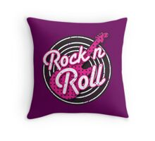 Rock n Roll with punk guitar distressed Throw Pillow