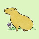 Capybara with Purple Flower  by zoel