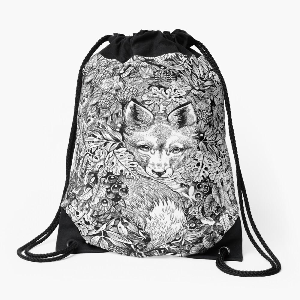 Hiding fox Drawstring Bag
