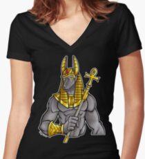 Anubis Egyptian God  Women's Fitted V-Neck T-Shirt