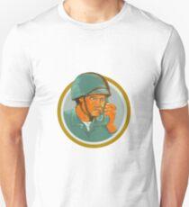 American Soldier Serviceman Calling Radio Watercolor T-Shirt