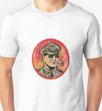 World War II General Corn Cob Pipe Watercolor Slim Fit T-Shirt