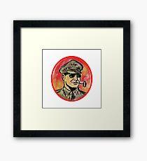 World War II General Corn Cob Pipe Watercolor Framed Art Print