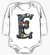Doodle Letter E One Piece - Long Sleeve