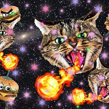 Cats Fighting Alien Burgers by Lozzeh