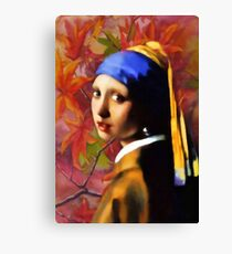 A Girl With A Pearl In Autumn Canvas Print