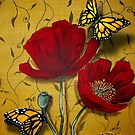 Red Poppies with Monarch Butterflies by Cherie Roe Dirksen