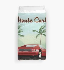 Monte Carlo sports car travel poster Duvet Cover
