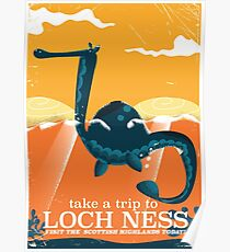 Loch Ness Scotland highlands vintage monster Poster Poster