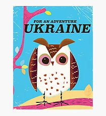 For an Adventure Ukraine Owl vintage poster  Photographic Print