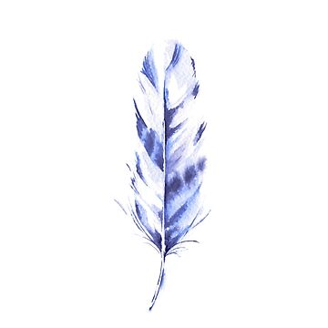 Feather Indigo Watercolor  by annetweelink