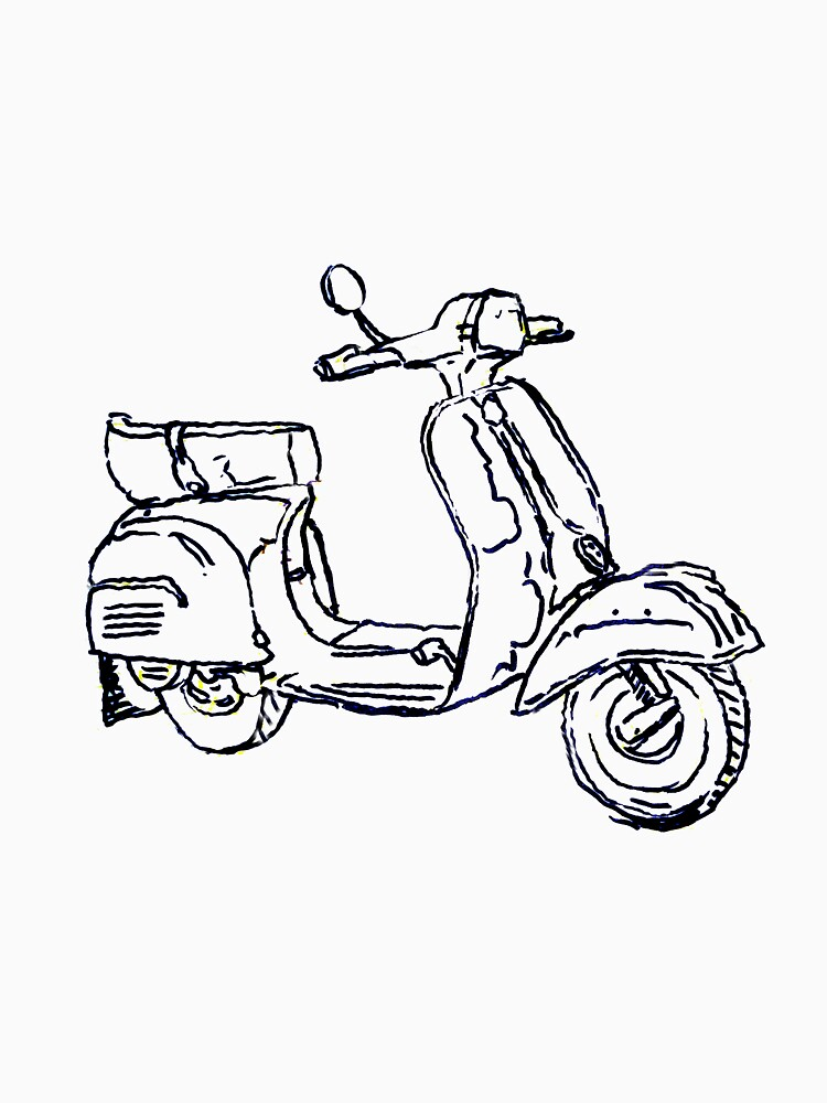 Vespa Bajaj Piaggio Scooter Pen Drawing Womens Fitted Scoop T