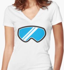 Winter SNOW Goggles  Women's Fitted V-Neck T-Shirt