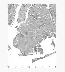 Brooklyn map grey Photographic Print